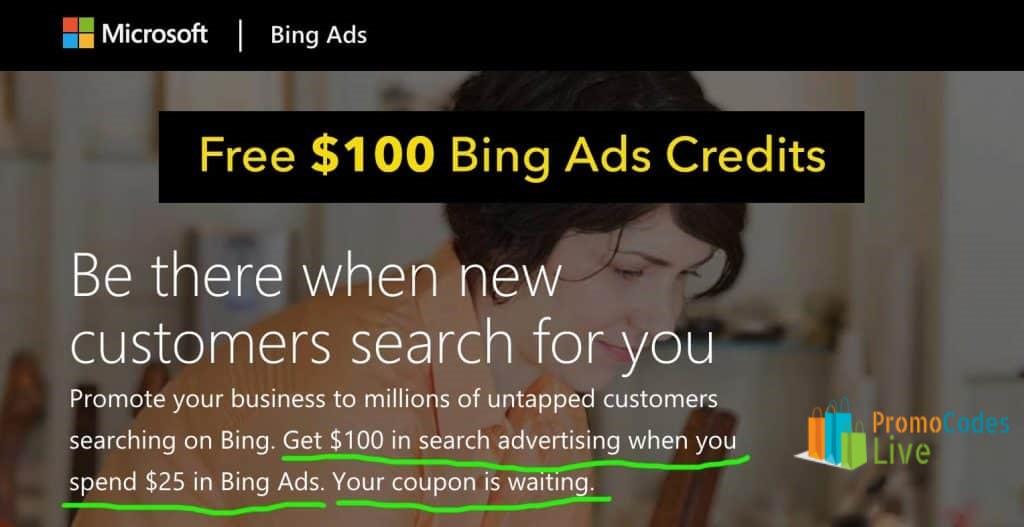 $100 Bing ads coupon code