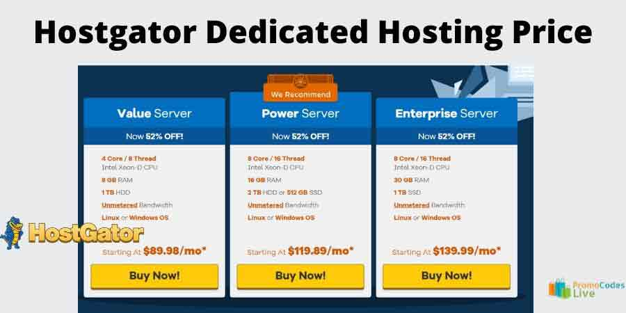 Hostgator dedicated hosting plan